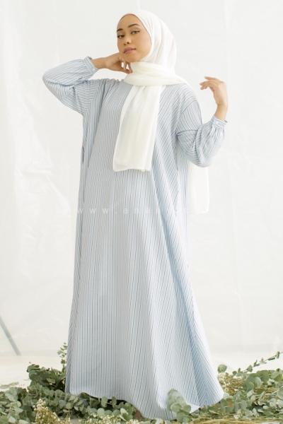HIBARI STRIPE BLUE  KAFTAN ABAYA